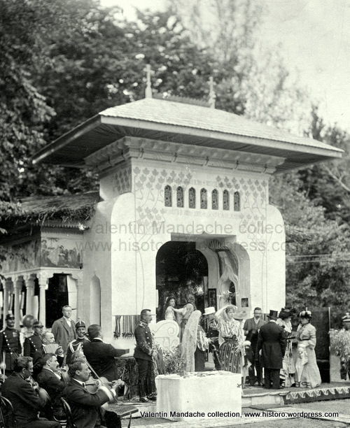 Garden pavilion in the grounds of Cotroceni Royal Palace, Bucharest cca 1903. The structure is built in an exquisite combination of Art Nouveau and Neo-Romanian styles. (old photograph, Valentin& Diana Mandache collection)