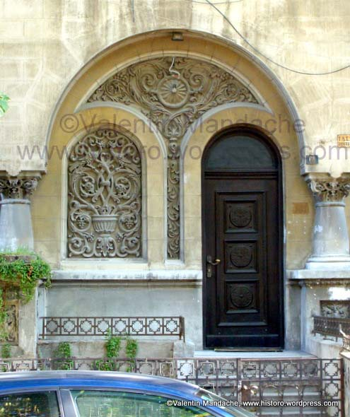 Tree of life symbols on Neo-Romanian style doorway, Bucharest