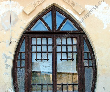 Lilac leaf shaped Art Nouveau windows