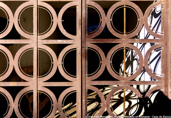 Art Deco style gate, dating from the mid 1930s, Piata Romana area, Bucharest