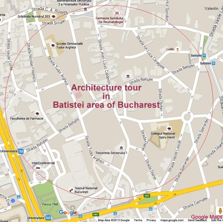 Historic Houses of Romania architecture tours - Batistei area map
